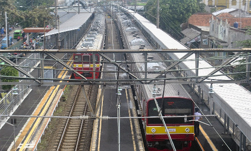 Trains in Indonesia.